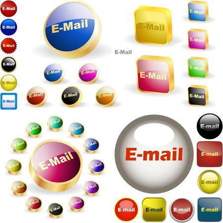 E-mail button set. great collection. Stock Vector - 6577701