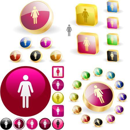 heterosexuality: Female button.  Illustration