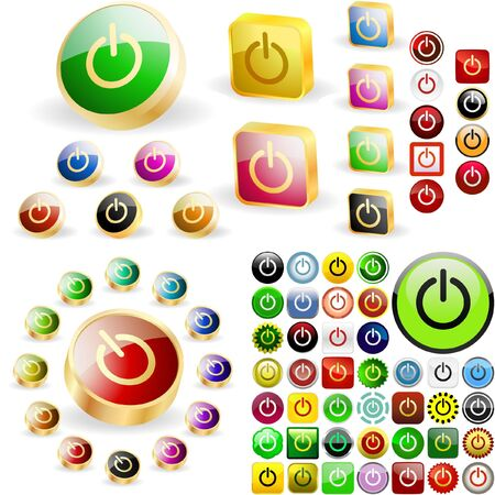 Power buttons for web.  great collection. Stock Vector - 6578015