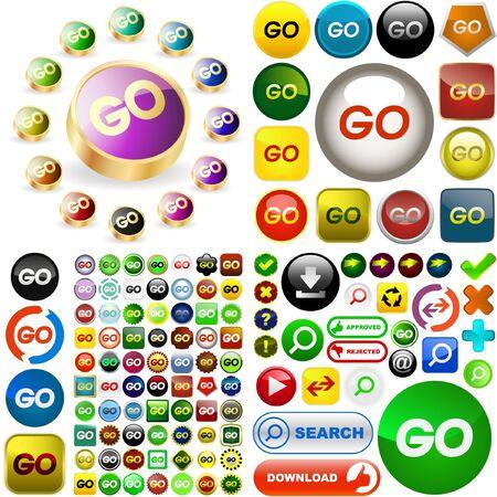 GO button set. Stock Vector - 6578078