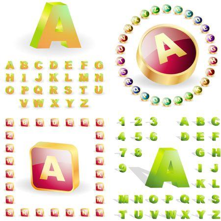 alphabet for buttons. Vector