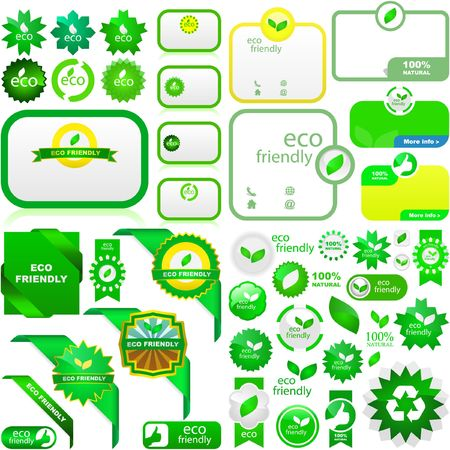 ecology emblem: Set of eco friendly, natural and organic labels.   Illustration