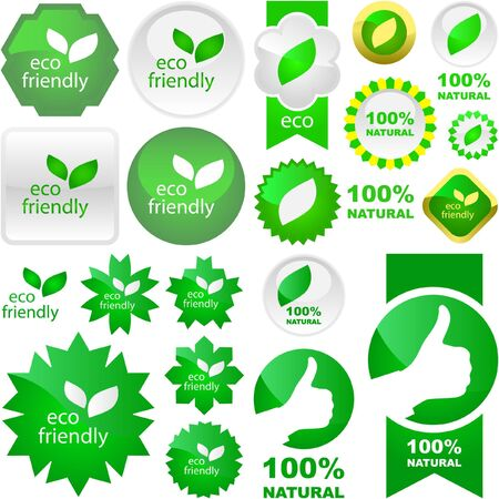 Set of natural labels. Stock Vector - 6577471
