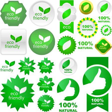 eco friendly: Set of natural labels.