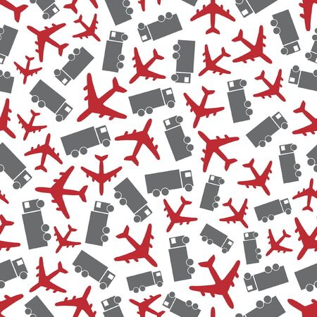 Seamless background with airplane and truck.   Vector