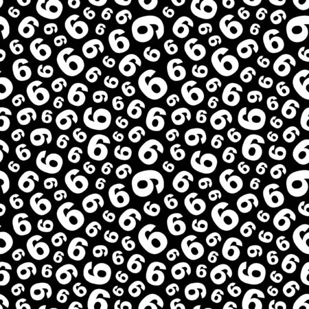 Six. Seamless pattern with number mix.  Vector