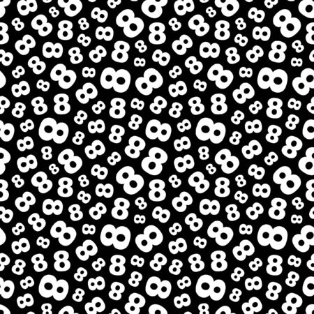 Eight. Seamless pattern with number mix.  Vector