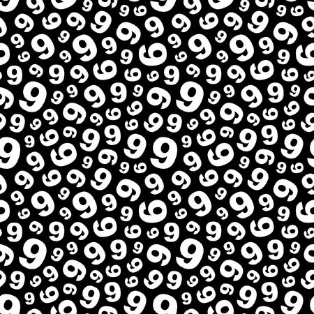 Nine. Seamless pattern with number mix.  Vector