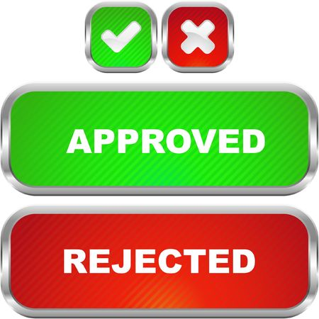 Approved and rejected buttons.  Stock Vector - 6877297