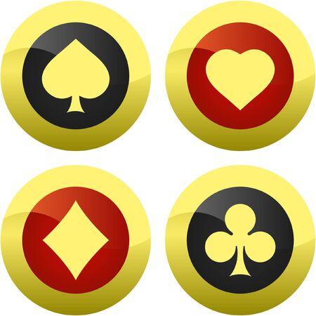 gambler: Card suits.  Illustration