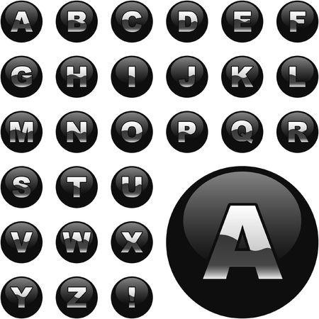 Alphabet button set for web.   Vector