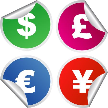dollar, euro, yen and pound signs. Stock Vector - 6876889