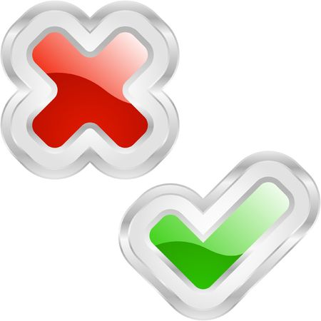 removing: Approved and rejected buttons. Illustration