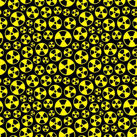 radioisotope: Seamless pattern with alert symbol.