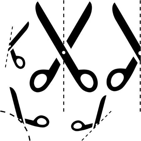 tijeras: Tijeras con l�neas de corte  Vectores