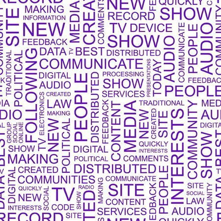 accessing: MEDIOS DE COMUNICACI�N. Palabra collage sobre fondo blanco.