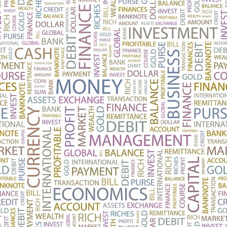 obligee: MONEY. Seamless background. Wordcloud illustration.