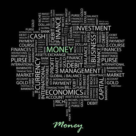 obligee: MONEY. Word collage on black background.  Illustration