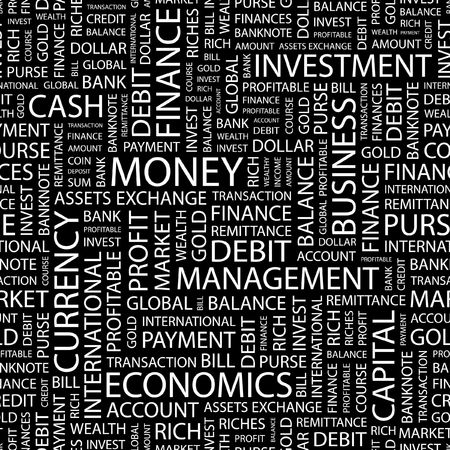 obligee: MONEY. Seamless pattern with word cloud.   Illustration