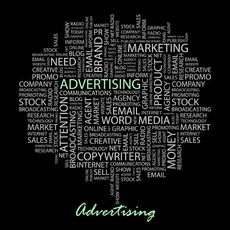 branded product: ADVERTISING. Word collage on black background.  Illustration
