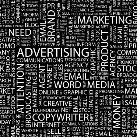 branded product: ADVERTISING. Seamless pattern with word cloud.