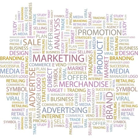 sales executive: DE MARKETING. Palabra collage sobre fondo blanco.  Vectores