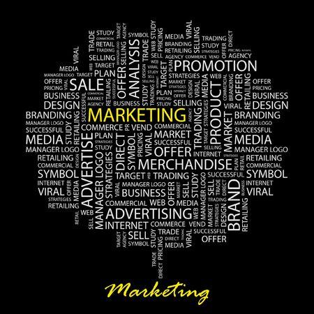 sales executive: DE MARKETING. Palabra collage sobre fondo negro.