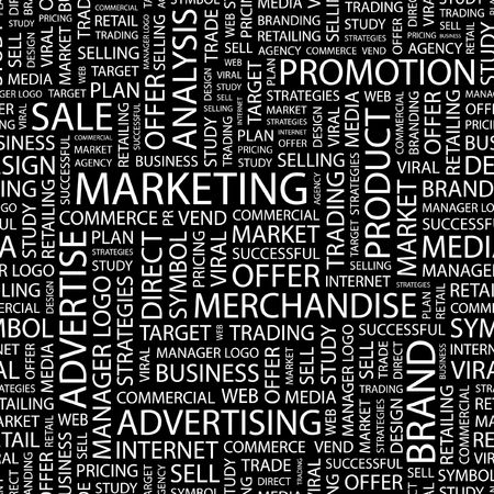 MARKETING. Seamless pattern with word cloud.   Vector