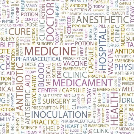 MEDICINE. Seamless background. Wordcloud illustration.   Vector