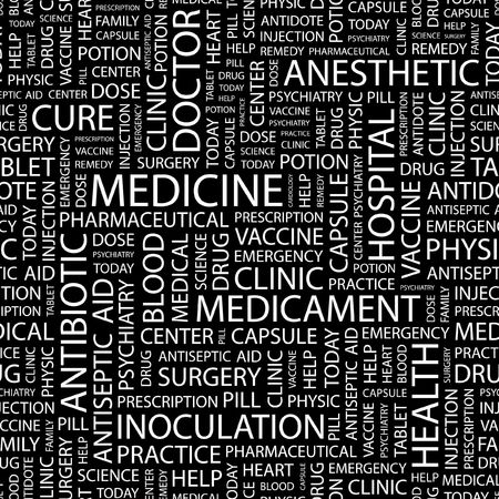 antidote: MEDICINE. Seamless pattern with word cloud.   Illustration