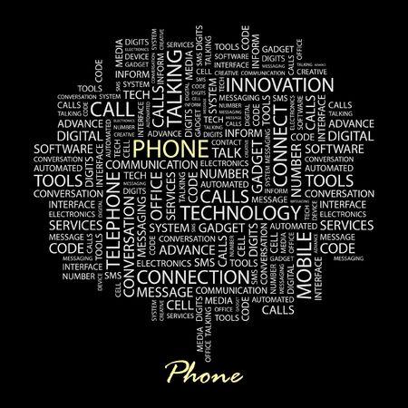beep: PHONE. Word collage on black background.  Illustration