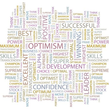 superlative: OPTIMISM. Word collage on white background.