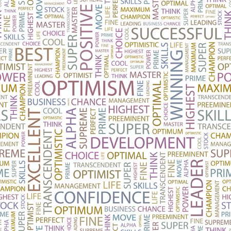 inimitable: OPTIMISM. Seamless background. Wordcloud illustration.   Illustration