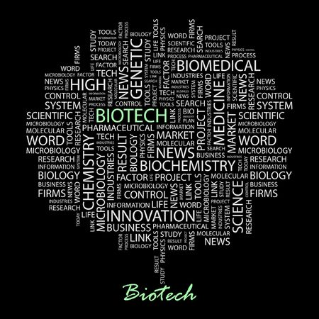 BIOTECH. Word collage on black background.  Vector