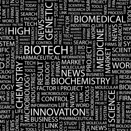 BIOTECH. Seamless pattern with word cloud.   Vector