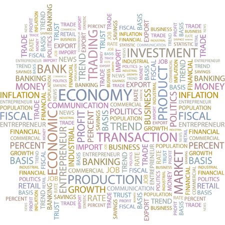 import trade: ECONOMY. Word collage on white background.