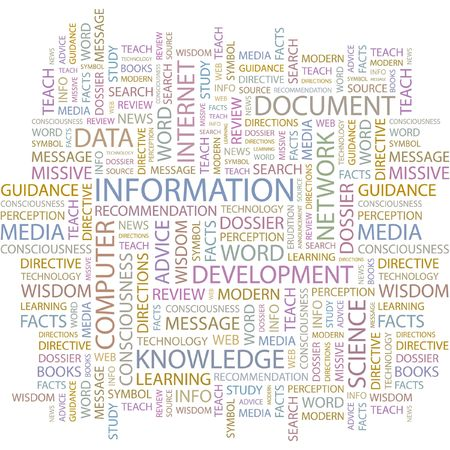 erudition: INFORMATION. Word collage on white background.