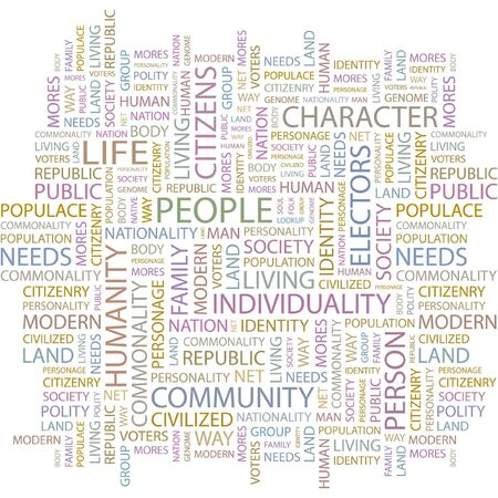 commonality: PEOPLE. Word collage on white background.