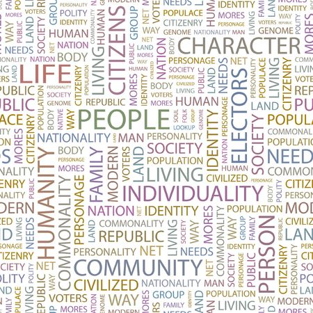 commonality: PEOPLE. Seamless background. Wordcloud illustration.
