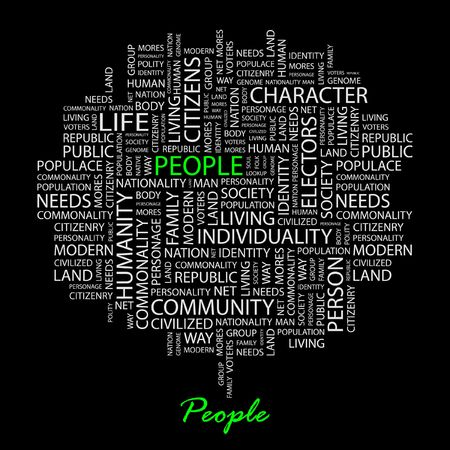 commonality: PEOPLE. Word collage on black background.