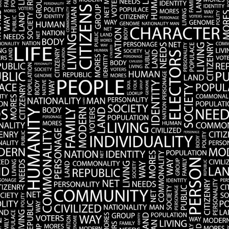 populace: PEOPLE. Seamless pattern with word cloud.