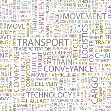 TRANSPORT. Seamless background. Wordcloud illustration.   Vector