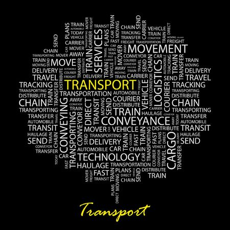 TRANSPORT. Word collage on black background.  Vector