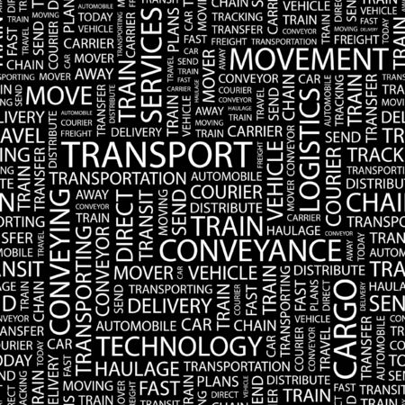 TRANSPORT. Seamless pattern with word cloud.   Vector