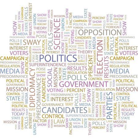 politics: POLITICS. Word collage on white background.  Illustration