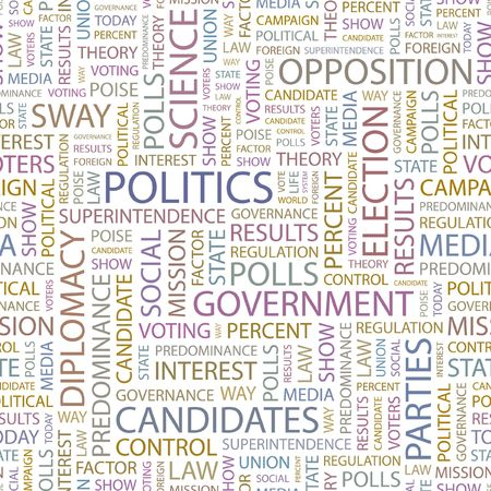 conservative: POLITICS. Seamless background. Wordcloud illustration.   Illustration