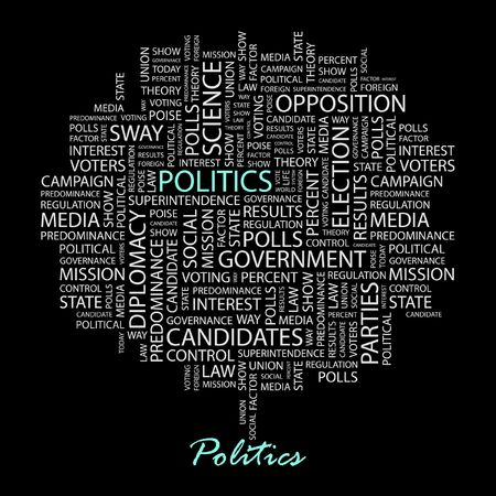 conservative: POLITICS. Word collage on black background.