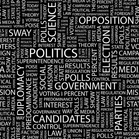 conservative: POLITICS. Seamless pattern with word cloud.   Illustration