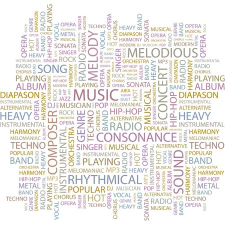 rhythmical: MUSIC. Word collage on white background.