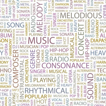 rhythmical: MUSIC. Seamless background. Wordcloud illustration.